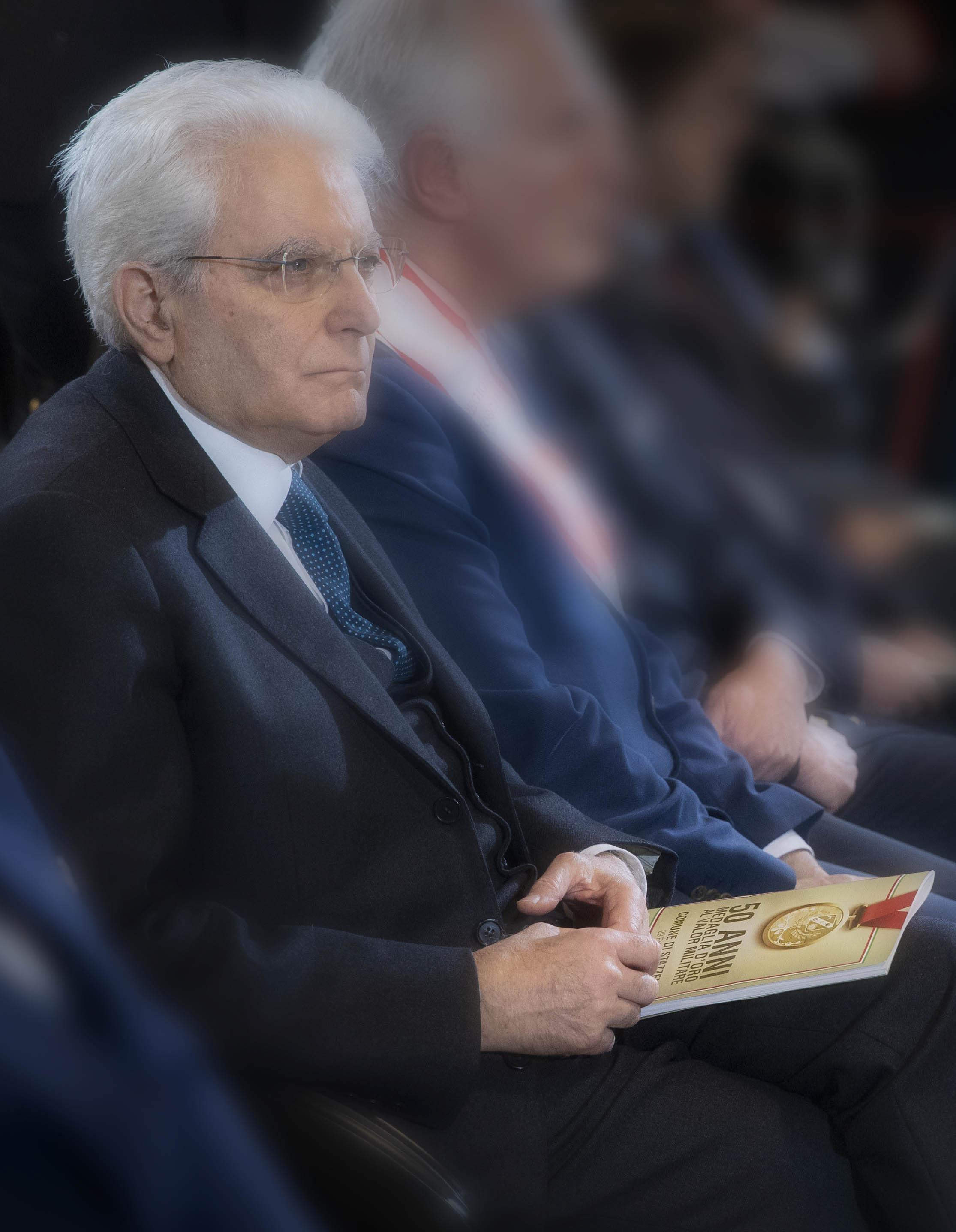 Il Presidente Mattarella durante la conferenza dell'evento